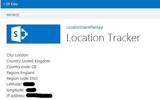 Sample SharePoint hosted App to track User Location | KeaPoint